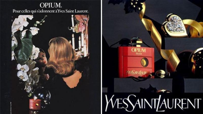 Parfém Opium Yves Saint Laurent - lahvička a plakát