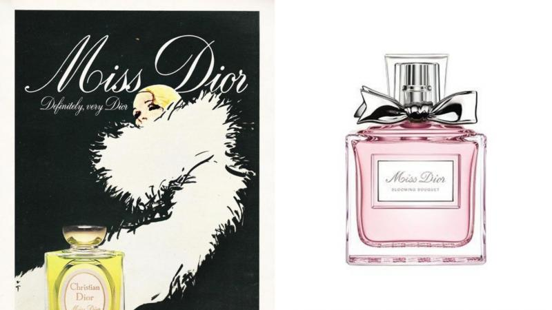 Lahvička parfému Miss Dior a reklamní leták na tento parfém