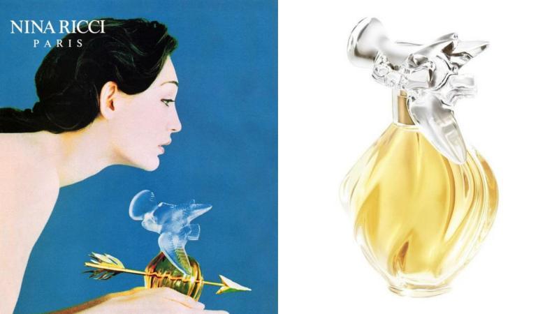 Lahvička parfému Nina Ricci a reklamní leták na tento parfém