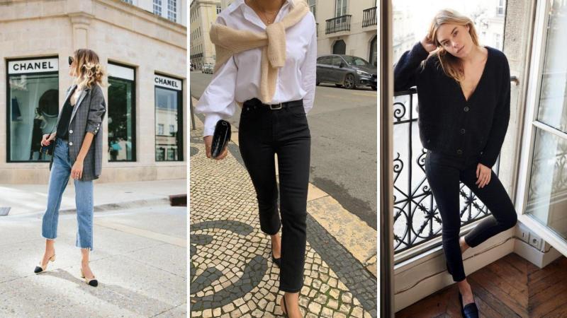 Koláž francouzských žen v moderním a stylovém oblečení.
